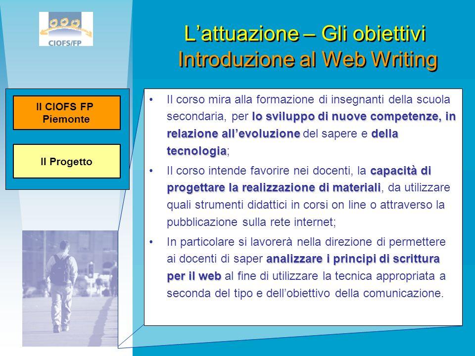 L'attuazione – Gli obiettivi Introduzione al Web Writing