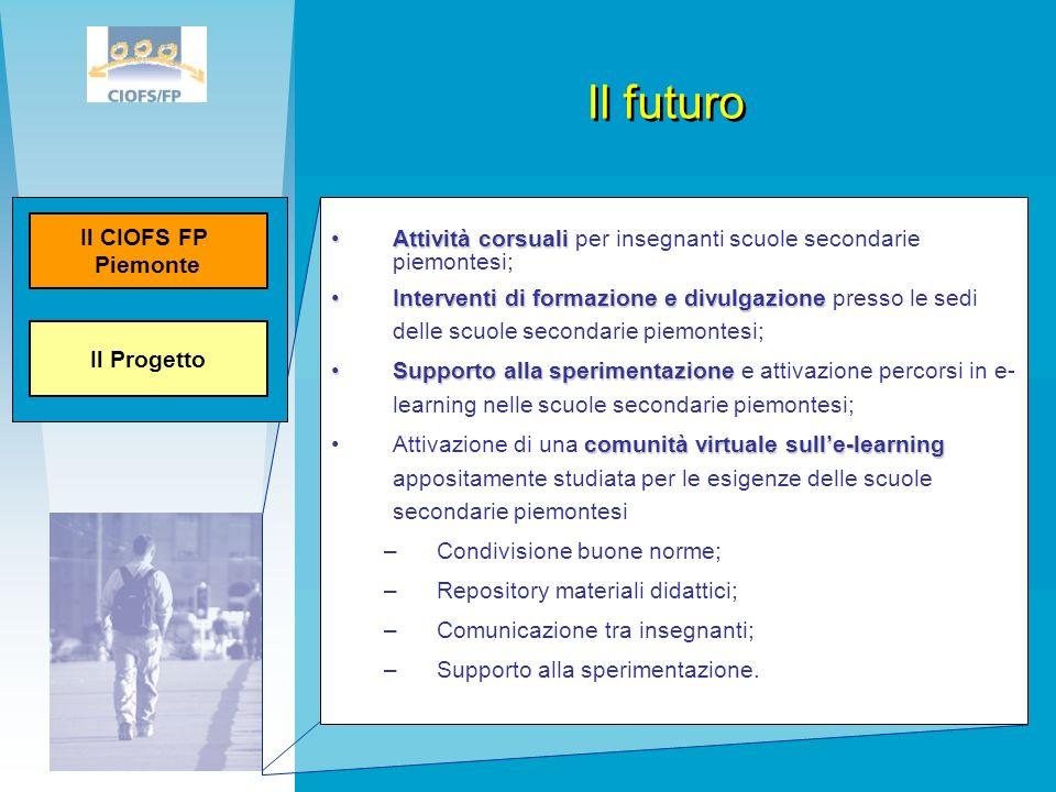 Il futuroIl Progetto. Il CIOFS FP. Piemonte. Attività corsuali per insegnanti scuole secondarie piemontesi;