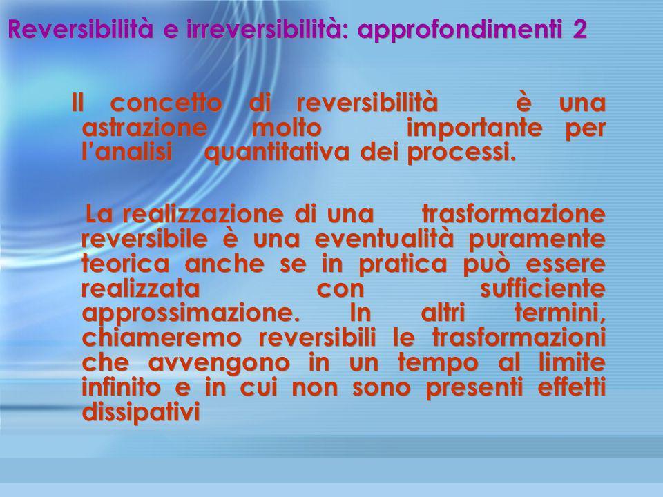 Reversibilità e irreversibilità: approfondimenti 2