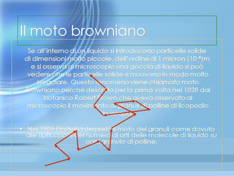 Il moto browniano Se all'interno di un liquido si introducono particelle solide. di dimensioni molto piccole, dell'ordine di 1 micron (10-6)m.