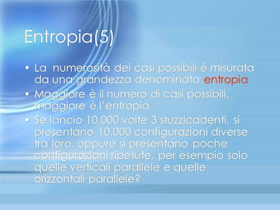 Entropia(5) La numerosità dei casi possibili è misurata da una grandezza denominata entropia.