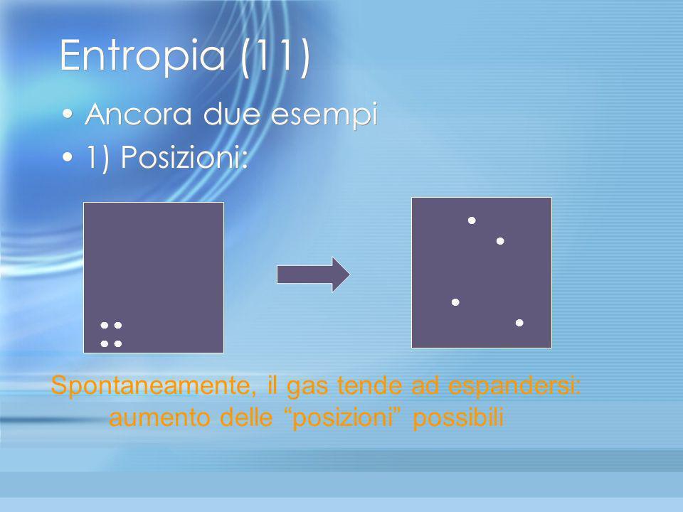 Entropia (11) Ancora due esempi 1) Posizioni: