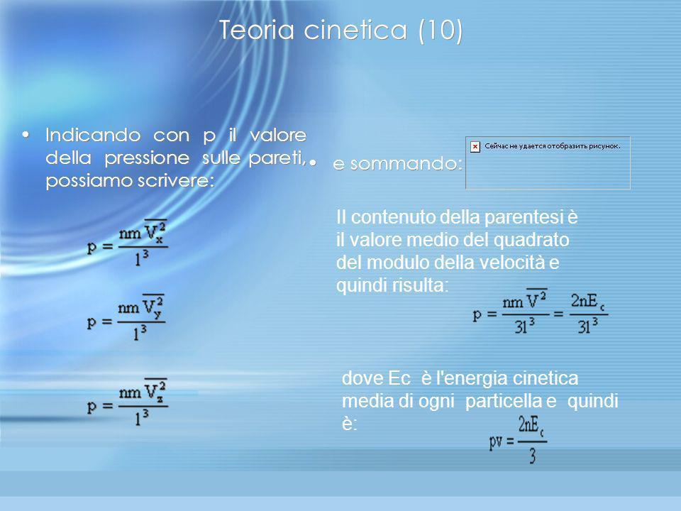Teoria cinetica (10) Indicando con p il valore della pressione sulle pareti, possiamo scrivere: e sommando: