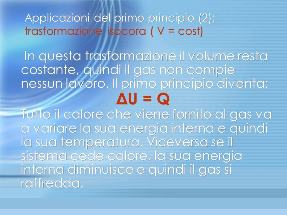 Applicazioni del primo principio (2): trasformazione isocora ( V = cost)