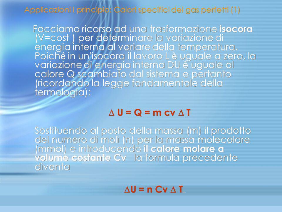Applicazioni I principio: Calori specifici dei gas perfetti (1)