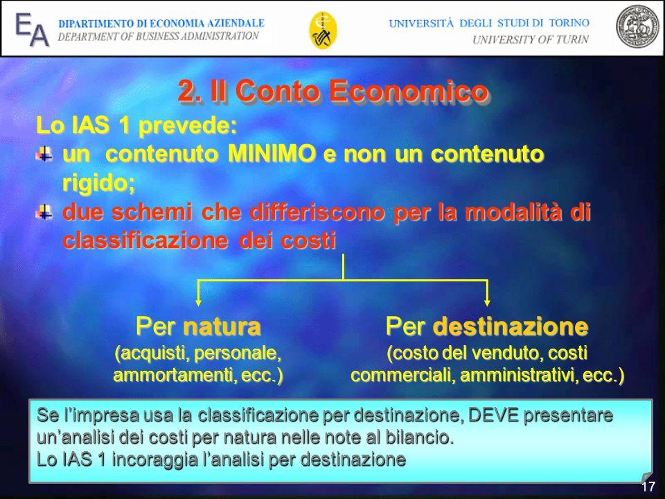 2. Il Conto Economico Per natura Per destinazione Lo IAS 1 prevede:
