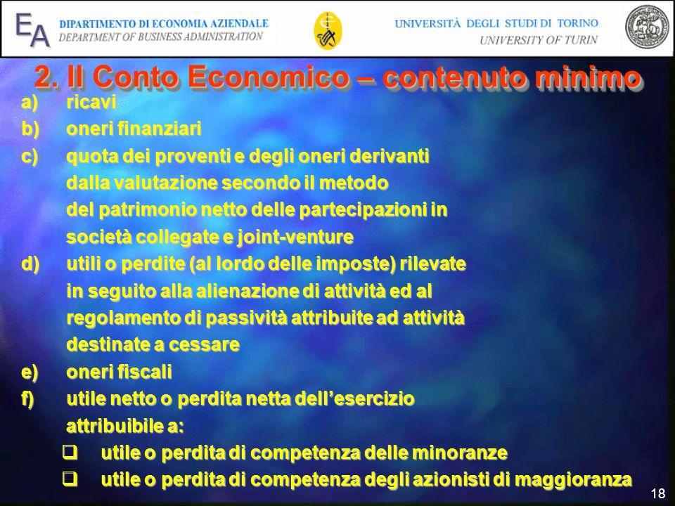 2. Il Conto Economico – contenuto minimo