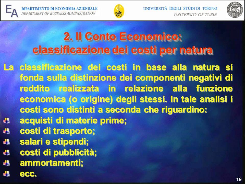 2. Il Conto Economico: classificazione dei costi per natura