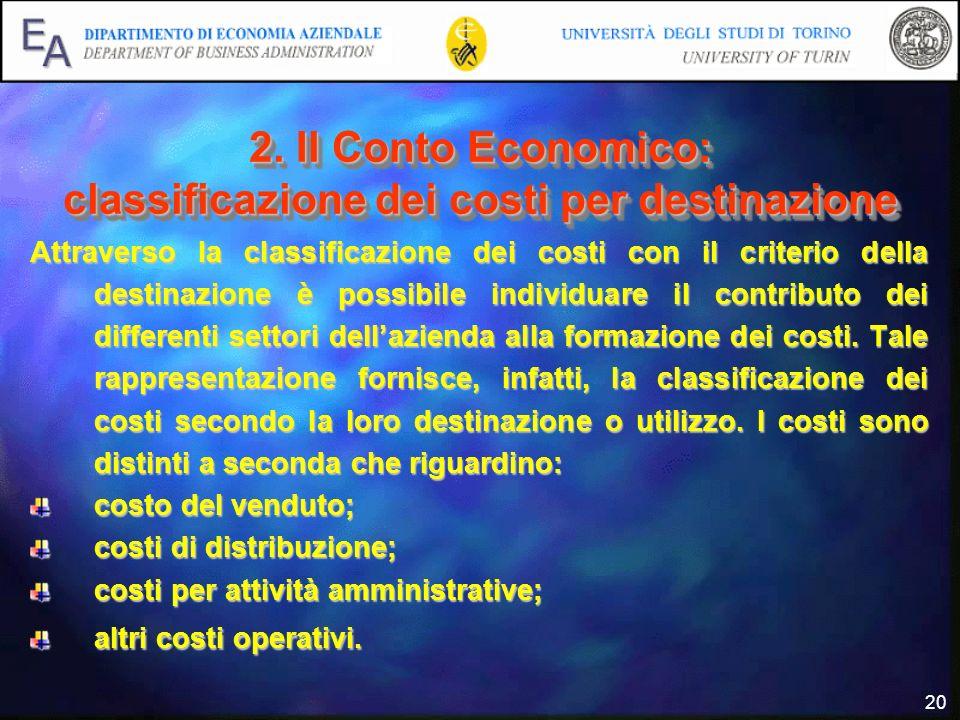 2. Il Conto Economico: classificazione dei costi per destinazione
