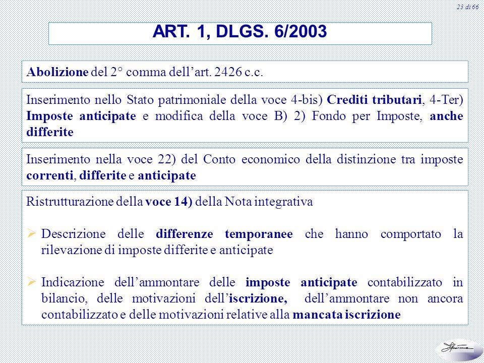 ART. 1, DLGS. 6/2003 Abolizione del 2° comma dell'art. 2426 c.c.