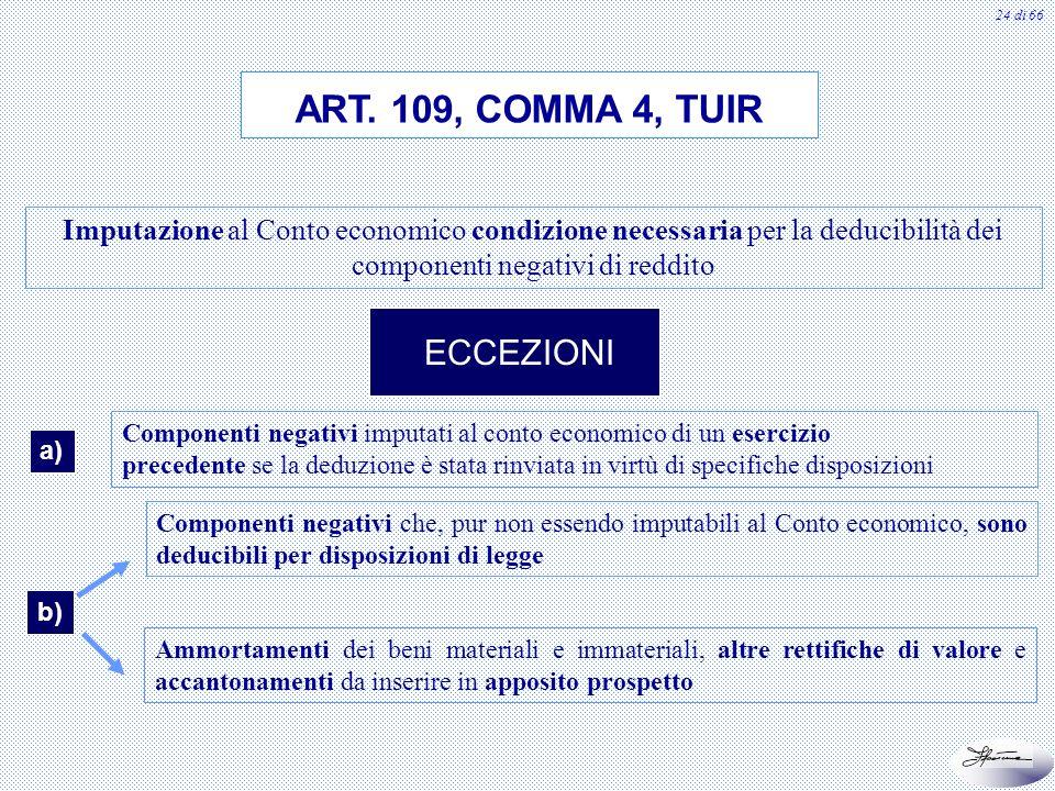 ART. 109, COMMA 4, TUIR ECCEZIONI