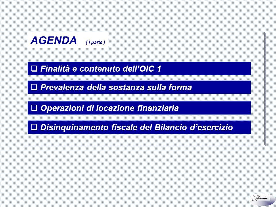 AGENDA ( I parte ) Finalità e contenuto dell'OIC 1