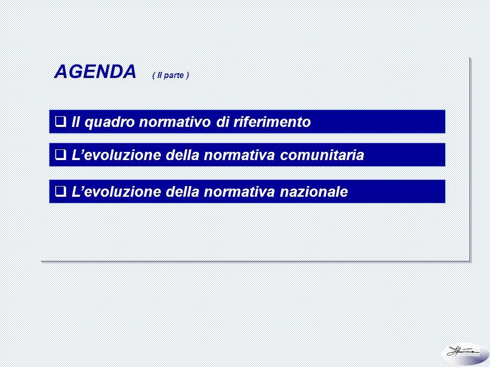 AGENDA ( II parte ) Il quadro normativo di riferimento