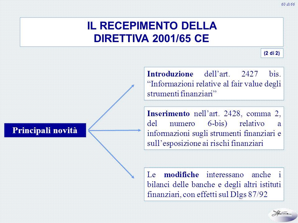 IL RECEPIMENTO DELLA DIRETTIVA 2001/65 CE