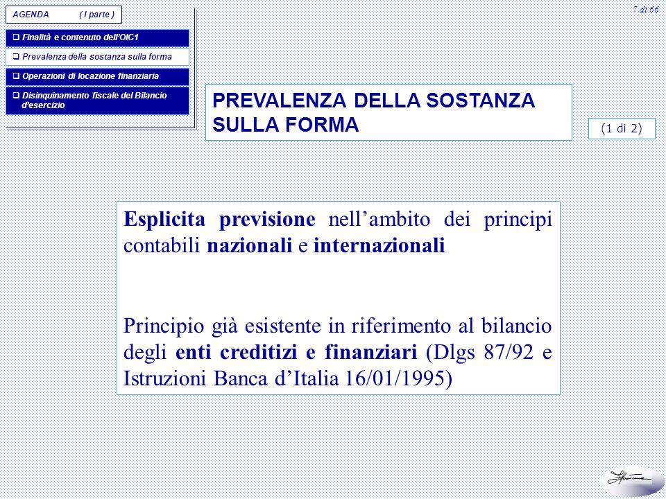 AGENDA ( I parte ) Finalità e contenuto dell'OIC1. Prevalenza della sostanza sulla forma. Operazioni di locazione finanziaria.