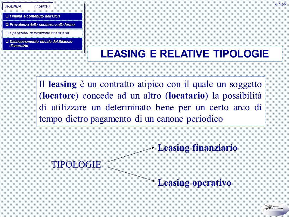 LEASING E RELATIVE TIPOLOGIE
