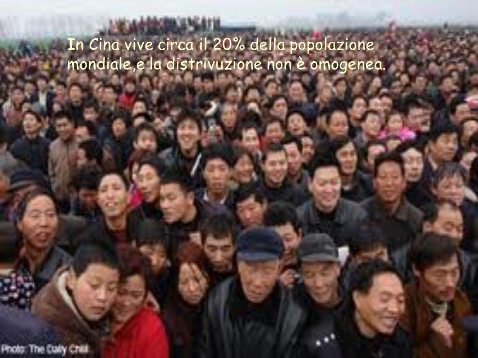 In Cina vive circa il 20% della popolazione mondiale,e la distrivuzione non è omogenea.