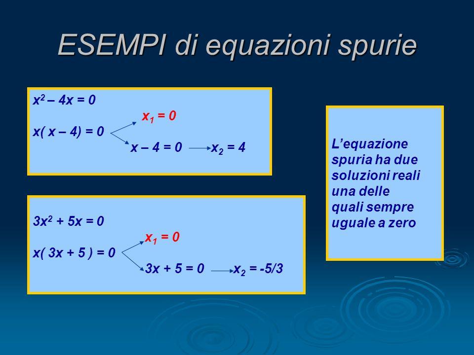 ESEMPI di equazioni spurie