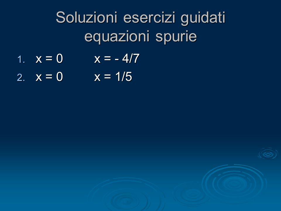 Soluzioni esercizi guidati equazioni spurie