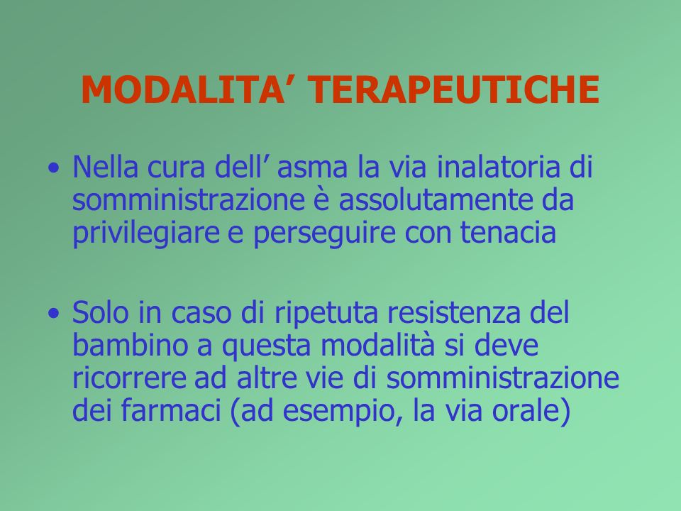 MODALITA' TERAPEUTICHE