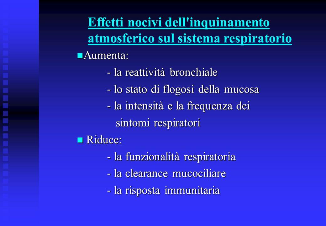 Effetti nocivi dell inquinamento atmosferico sul sistema respiratorio