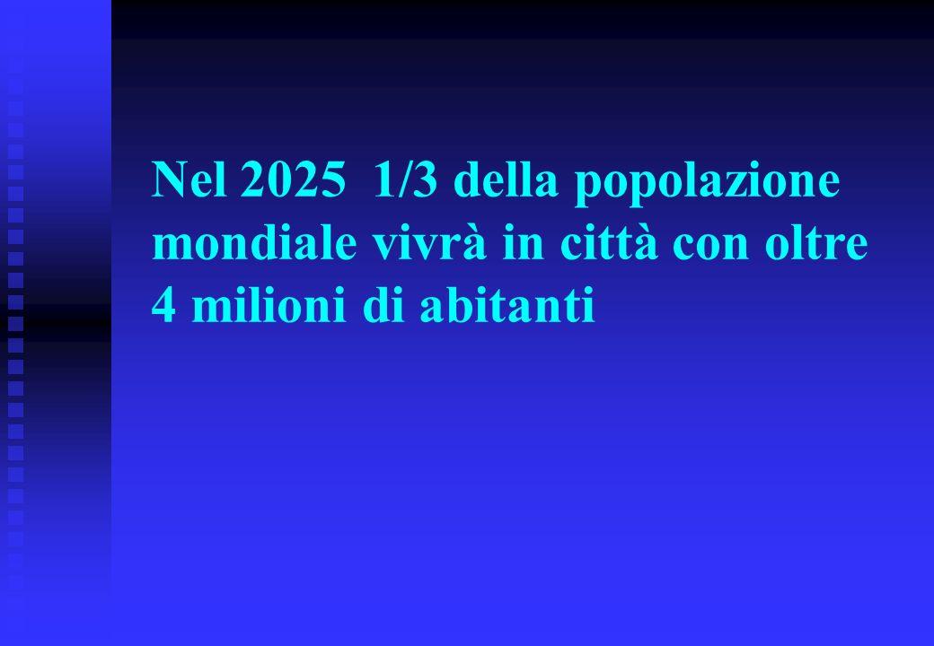 Nel 2025 1/3 della popolazione mondiale vivrà in città con oltre 4 milioni di abitanti