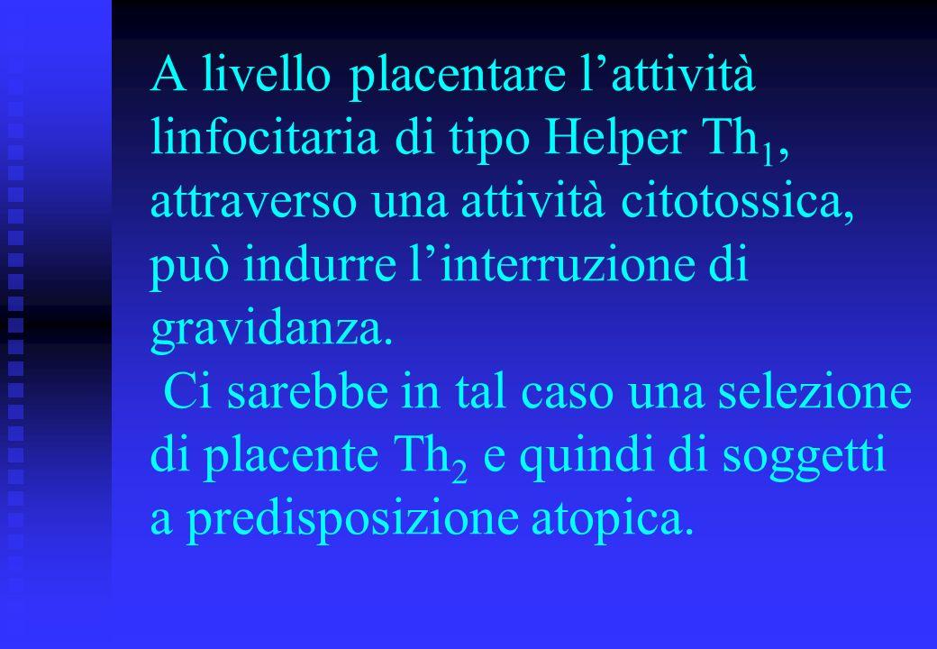 A livello placentare l'attività linfocitaria di tipo Helper Th1, attraverso una attività citotossica, può indurre l'interruzione di gravidanza.