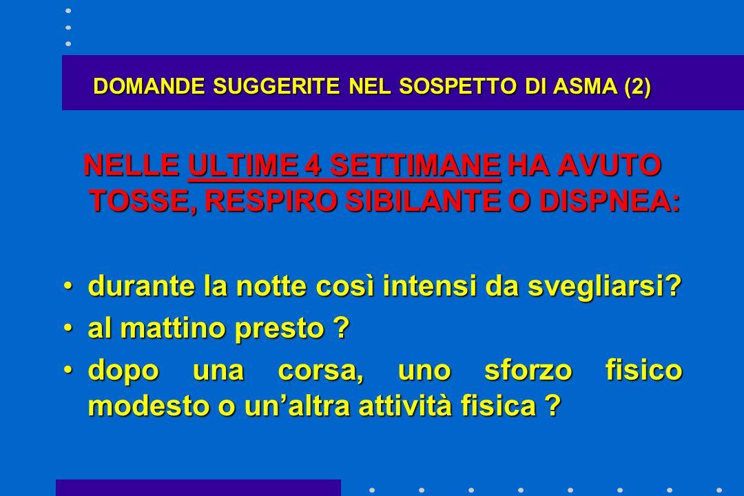 DOMANDE SUGGERITE NEL SOSPETTO DI ASMA (2)