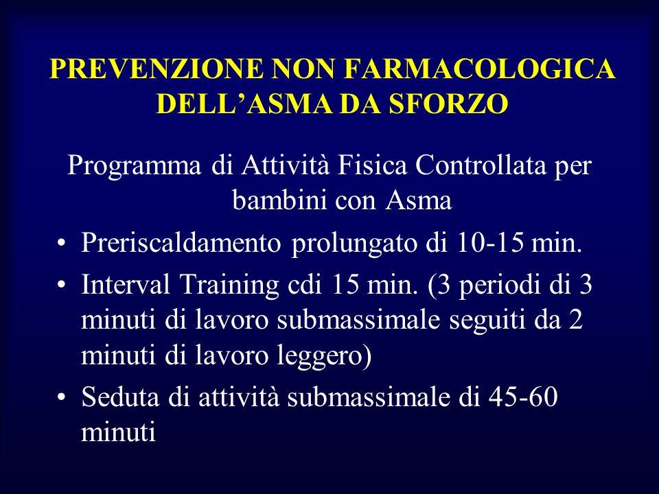 PREVENZIONE NON FARMACOLOGICA DELL'ASMA DA SFORZO
