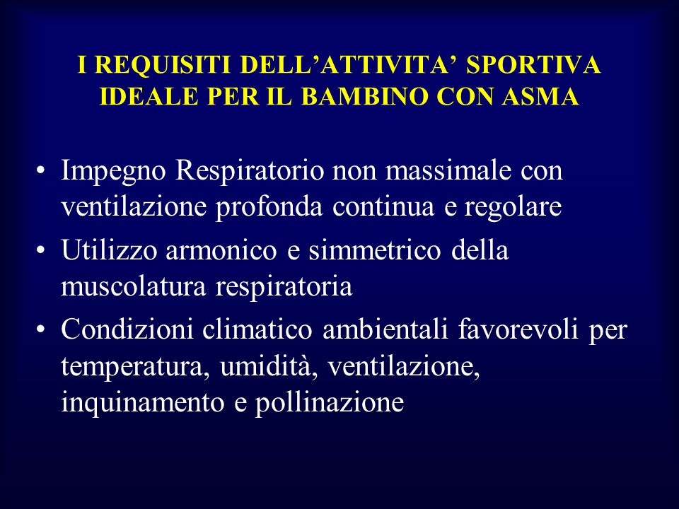 I REQUISITI DELL'ATTIVITA' SPORTIVA IDEALE PER IL BAMBINO CON ASMA