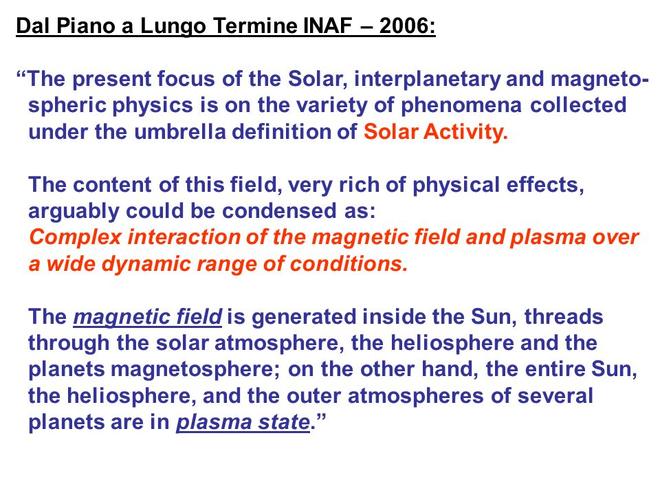 Dal Piano a Lungo Termine INAF – 2006: