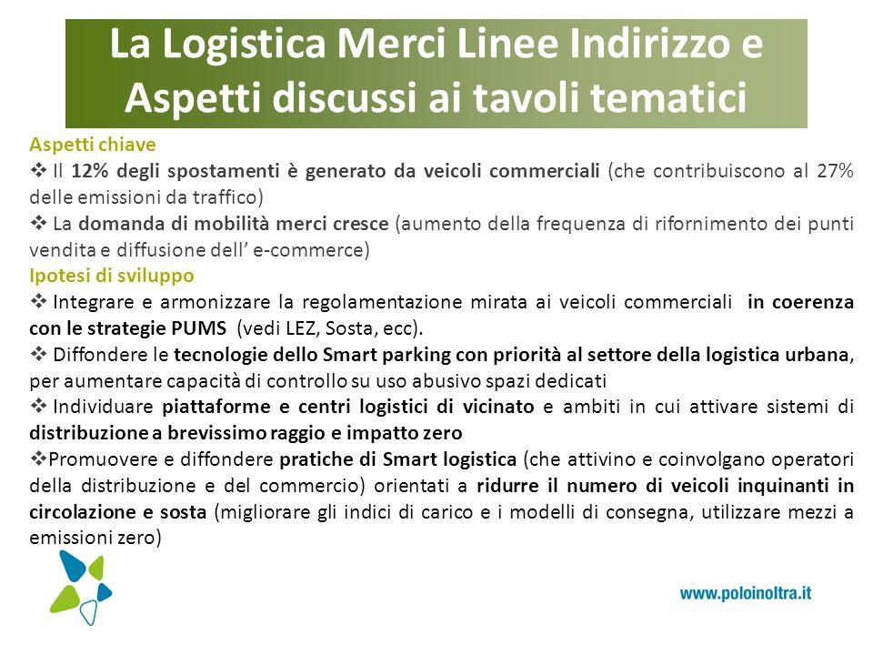 La Logistica Merci Linee Indirizzo e Aspetti discussi ai tavoli tematici