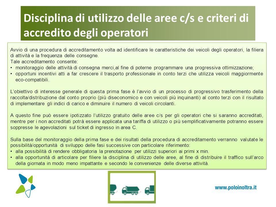Disciplina di utilizzo delle aree c/s e criteri di accredito degli operatori