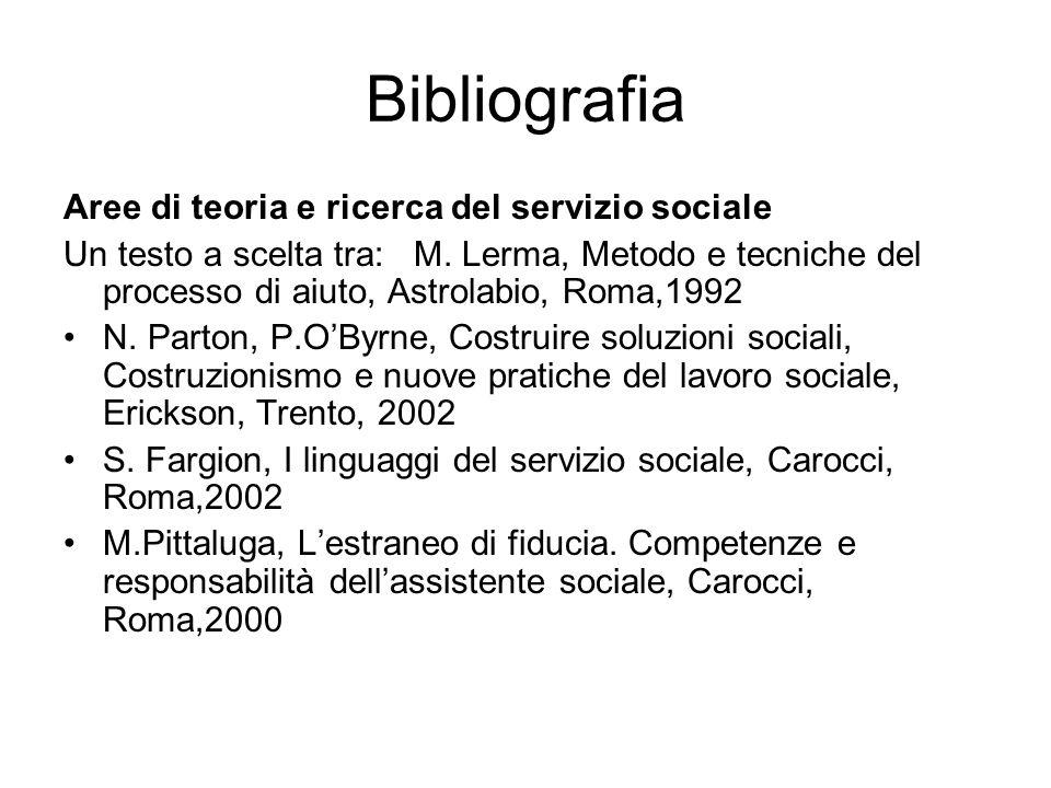 Bibliografia Aree di teoria e ricerca del servizio sociale