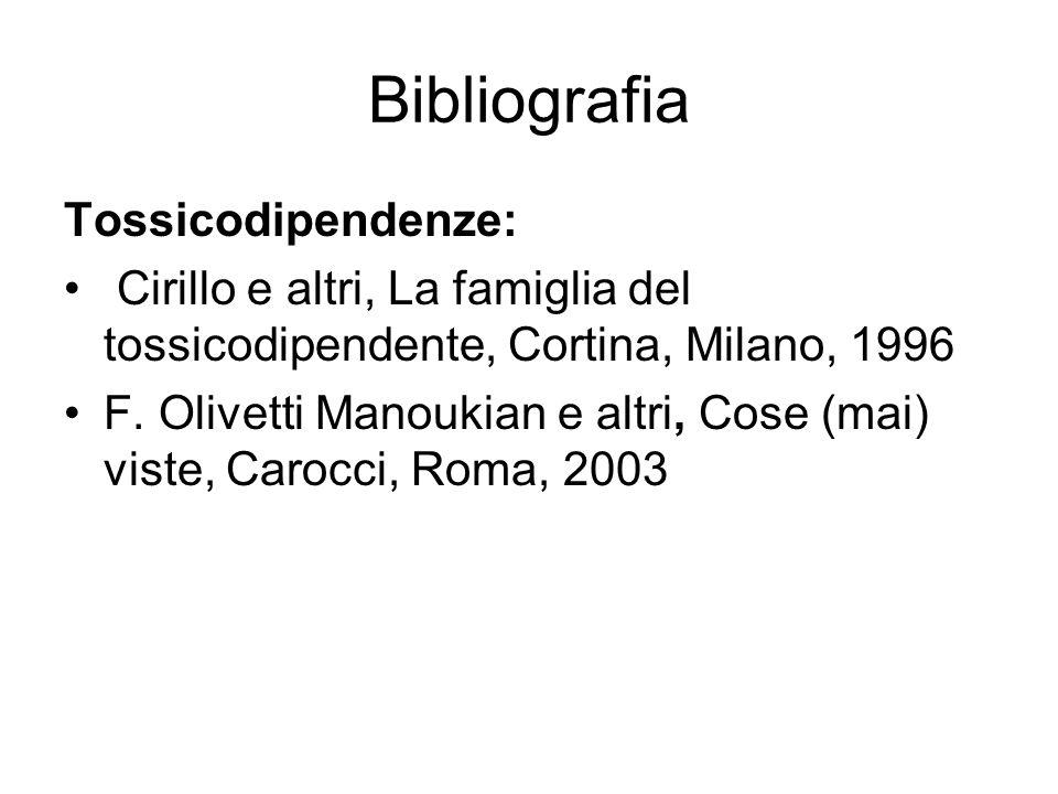 Bibliografia Tossicodipendenze: