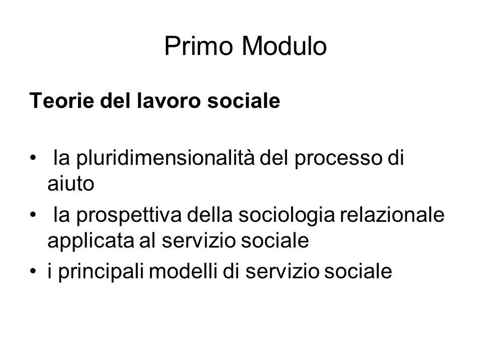 Primo Modulo Teorie del lavoro sociale