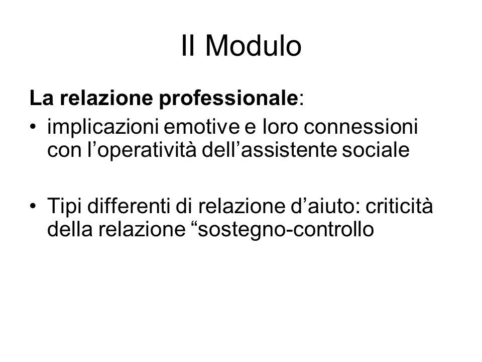II Modulo La relazione professionale: