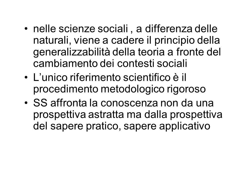 nelle scienze sociali , a differenza delle naturali, viene a cadere il principio della generalizzabilità della teoria a fronte del cambiamento dei contesti sociali