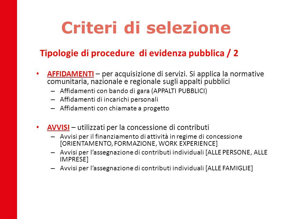 Criteri di selezione Tipologie di procedure di evidenza pubblica / 2