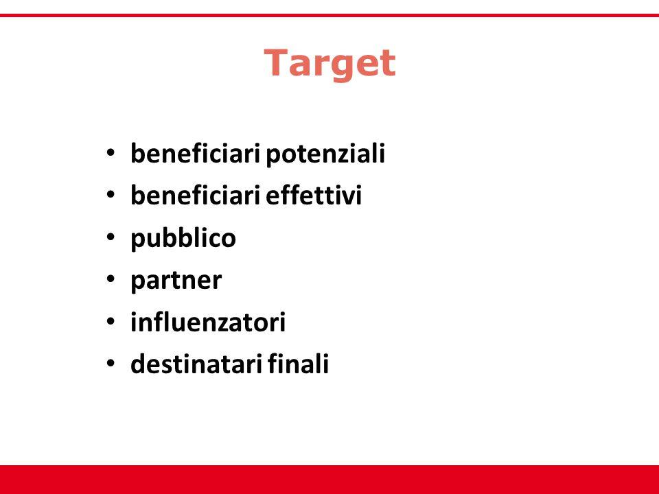 Target beneficiari potenziali beneficiari effettivi pubblico partner