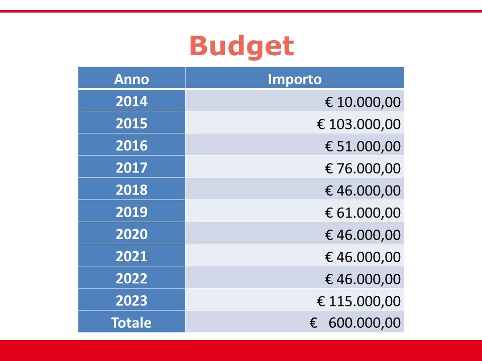Budget Anno. Importo. 2014. € 10.000,00. 2015. € 103.000,00. 2016. € 51.000,00. 2017. € 76.000,00.