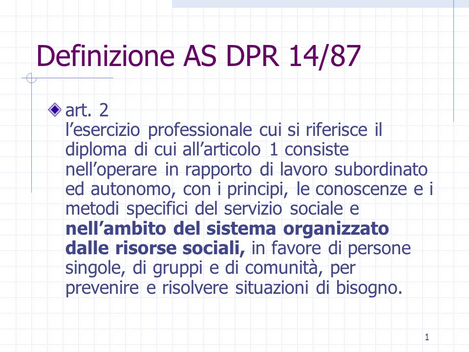 Definizione AS DPR 14/87