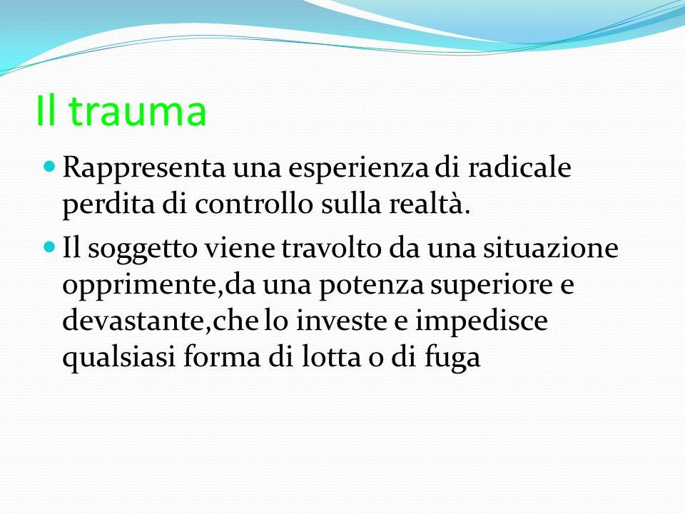 Il trauma Rappresenta una esperienza di radicale perdita di controllo sulla realtà.