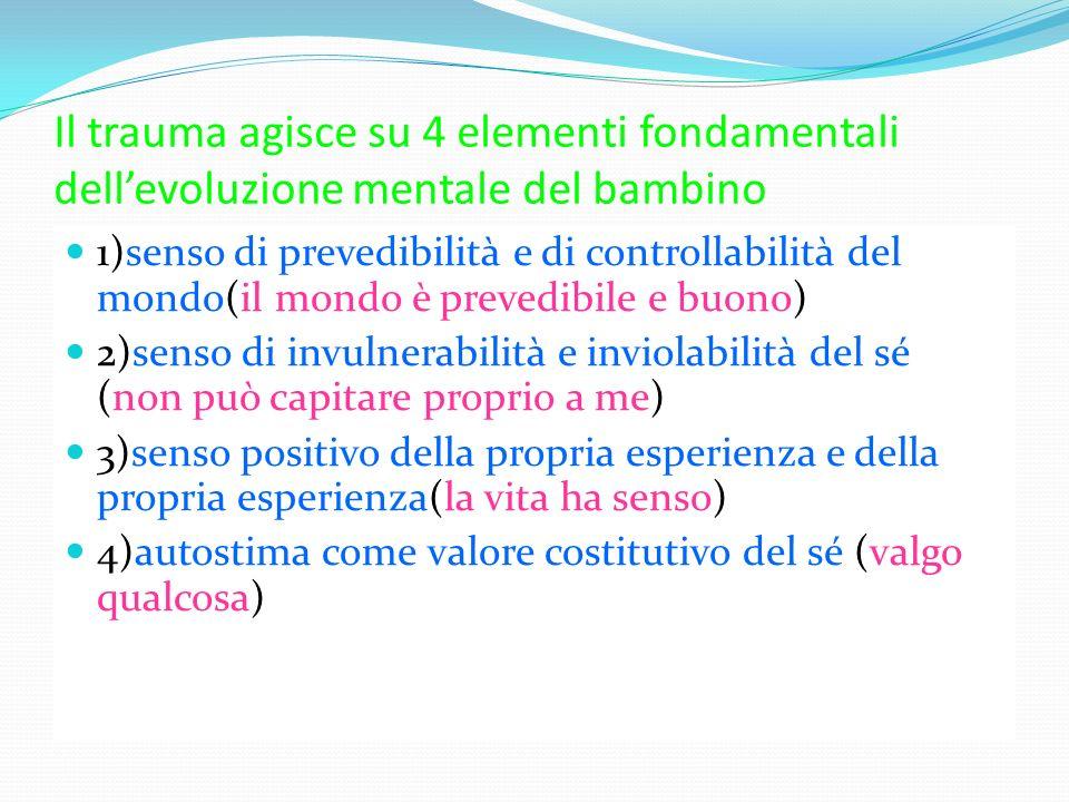Il trauma agisce su 4 elementi fondamentali dell'evoluzione mentale del bambino