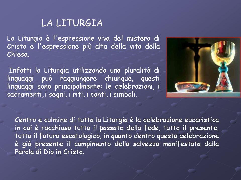 LA LITURGIA La Liturgia è l espressione viva del mistero di Cristo e l espressione più alta della vita della Chiesa.
