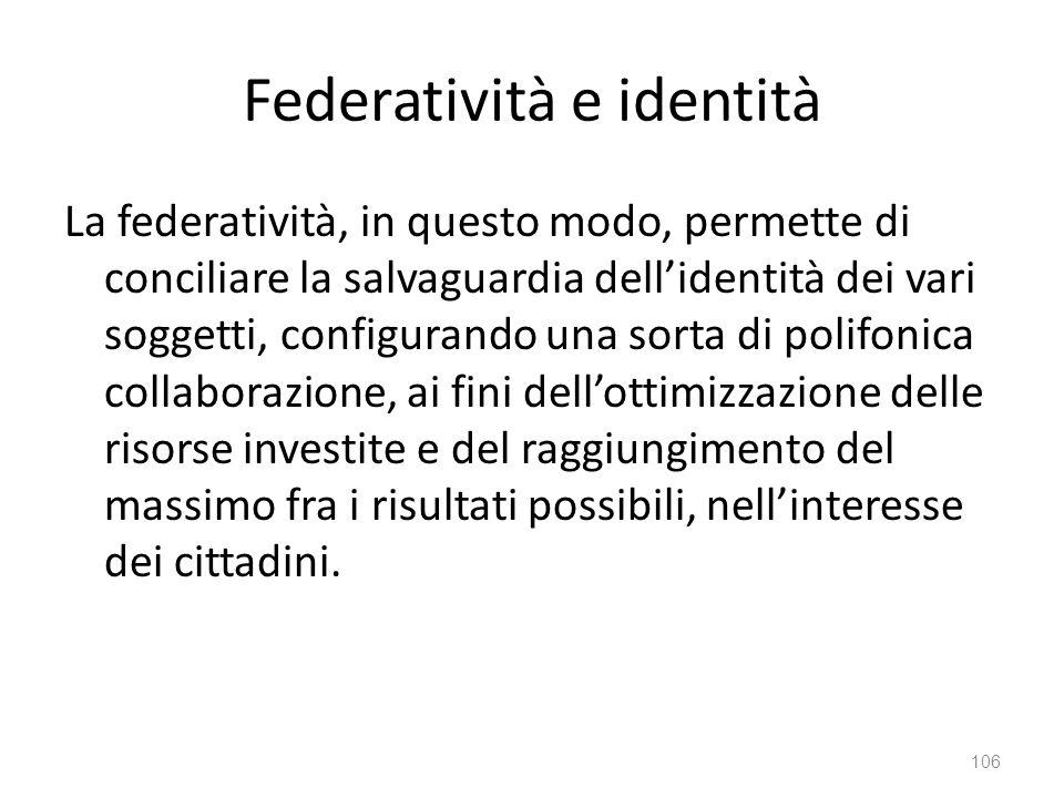 Federatività e identità
