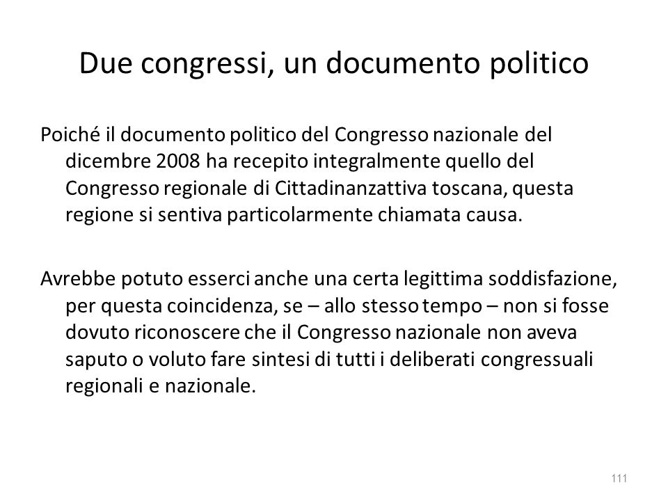 Due congressi, un documento politico