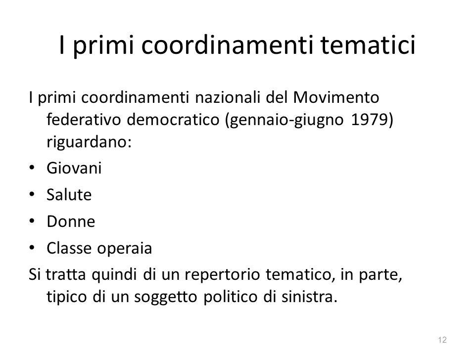 I primi coordinamenti tematici