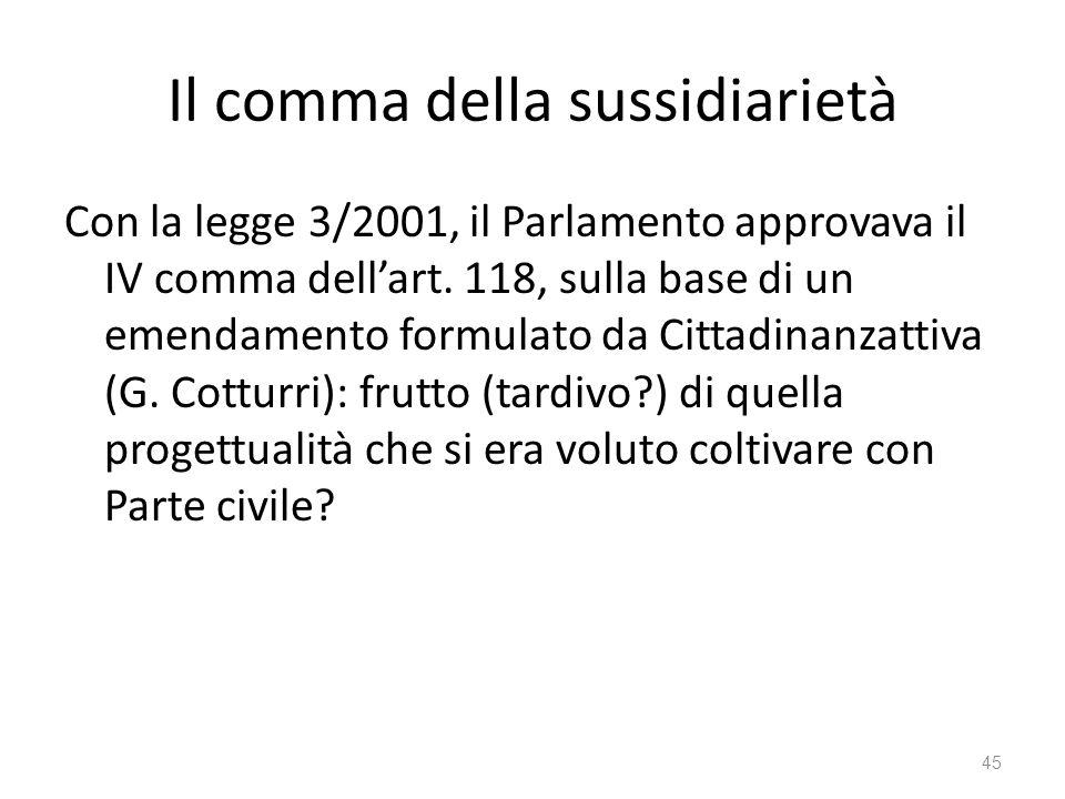 Il comma della sussidiarietà
