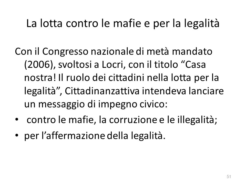 La lotta contro le mafie e per la legalità